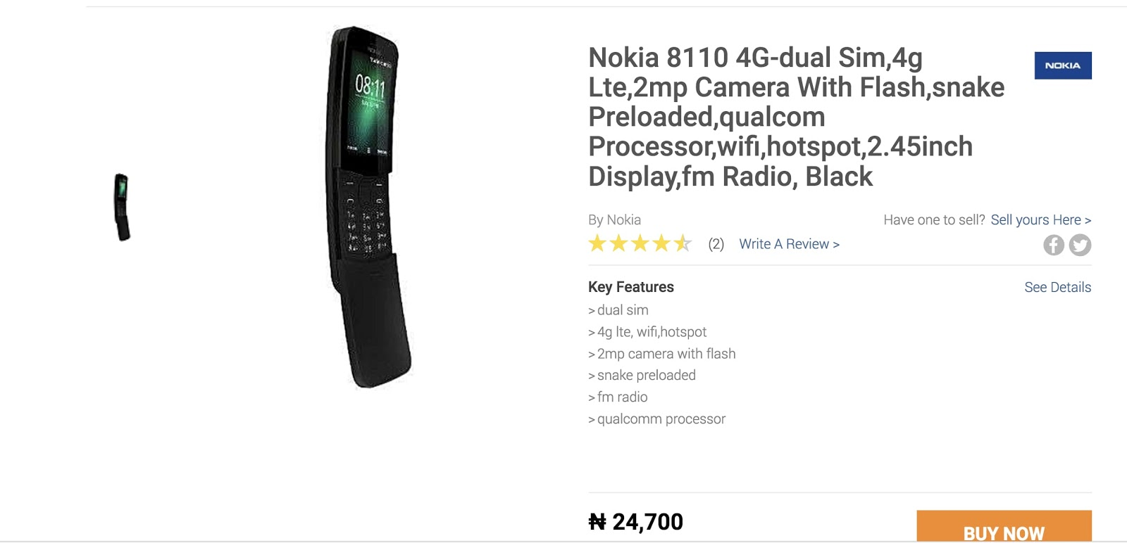 N24 Now Nokia 8110 4g Now Available In Nigeria For Just N24 700 Femtoptech