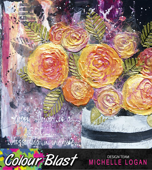 """Abstract Blooms"" an Art Journal Page for Colour Blast."