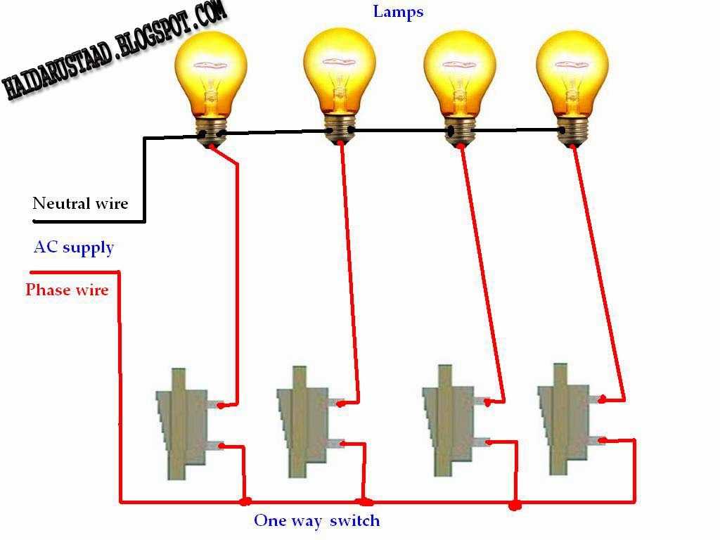 How To Control 4 Lamps  Bulbs  By 4 Switches  One Way