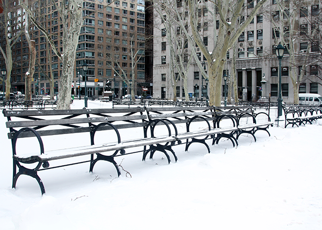 NYC Winter, Snow covered park benches, Blizzard of 2015