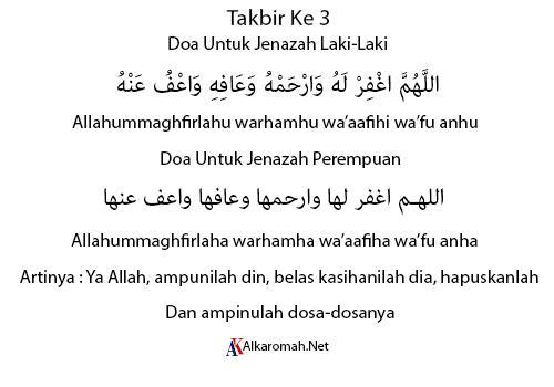 Doa Sholat Jenazah Takbir Ke 3