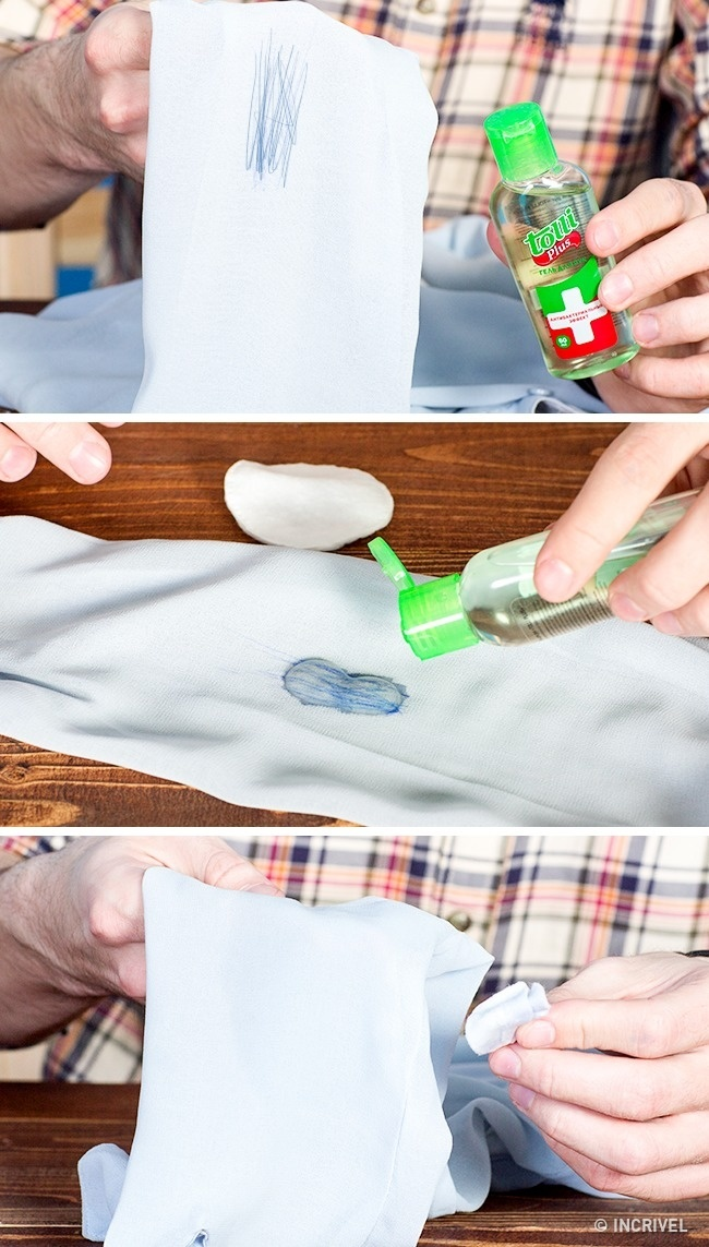 Gel bactericida para as mãos tiram manchas de tinta das roupas (Reprodução/Incrível)