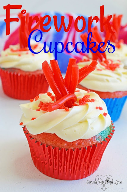 Firework Cupcakes recipe from Served Up With Love are sure to be a blast at your 4th of July Celebrations.
