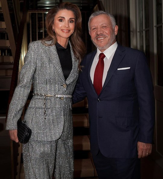 Queen Rania wore a silver-sequined suit, paired with a black clutch, to attend the ceremony at The Washington Institute