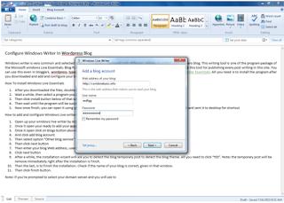 Configure Windows Writer In Wordpress Blog