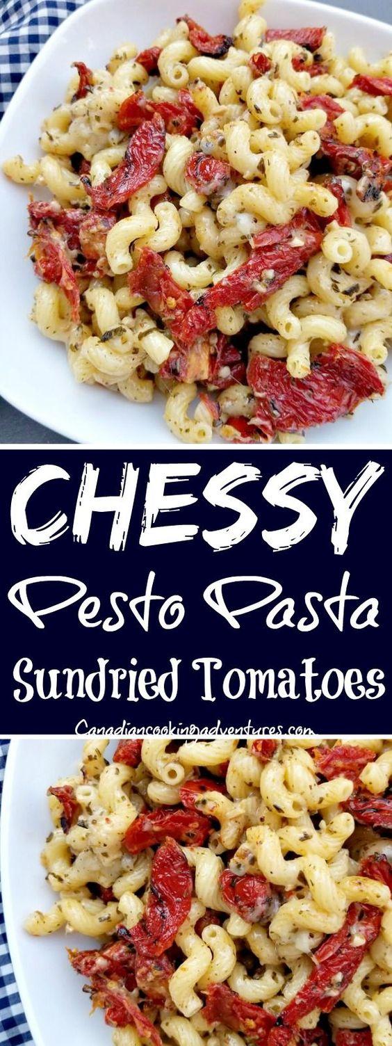 Cheesy Pesto Pasta with Sundried Tomatoes