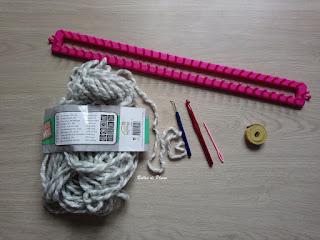 Bulles de Plume DIY Housse ordinateur au tricotin - matériels