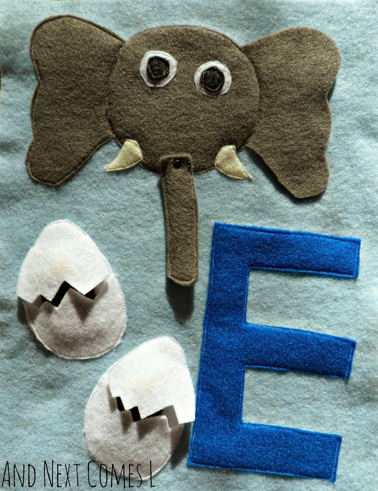 How to make a letter E themed quiet book page for an ABC quiet book