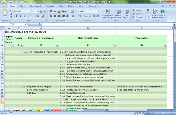 Aplikasi Membuat RKAS BOS 2016 Format Microsoft Excel