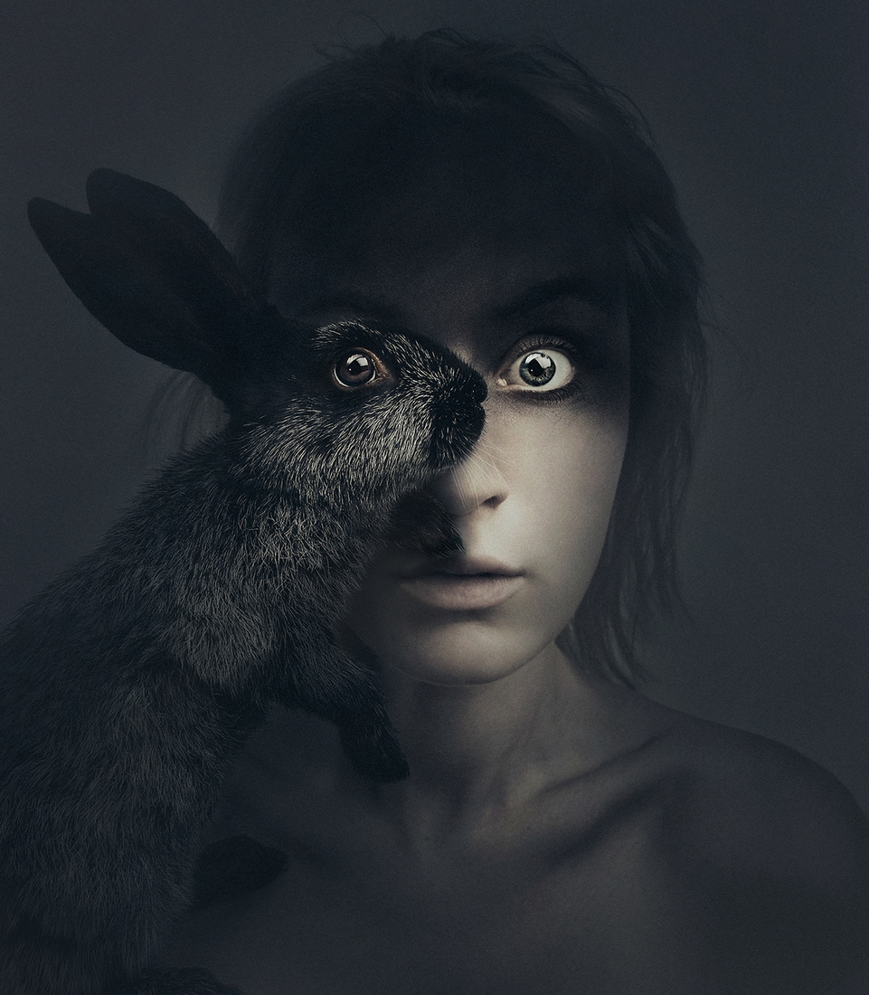 04-Black-Rabbit-Flora-Borsi-Animeyed-Self-Portraits-Surreal-Photographs-www-designstack-co