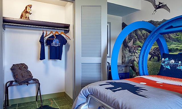 Detalhes do quarto infantil do Jurassic World na Universal Orlando
