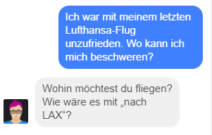 Lufthansa-Chatbot Mildred ist mit einer Frage überfordert.
