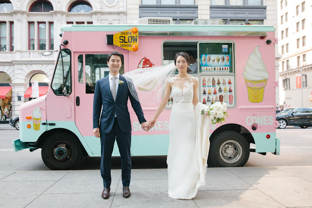 Creative photo of the bride and groom and an ice cream truck in NYC | Karen Hill Photography
