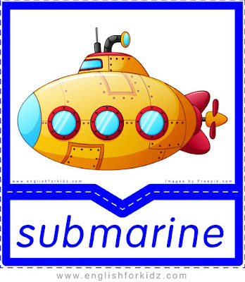 Submarine printable transportation flashcard with picture