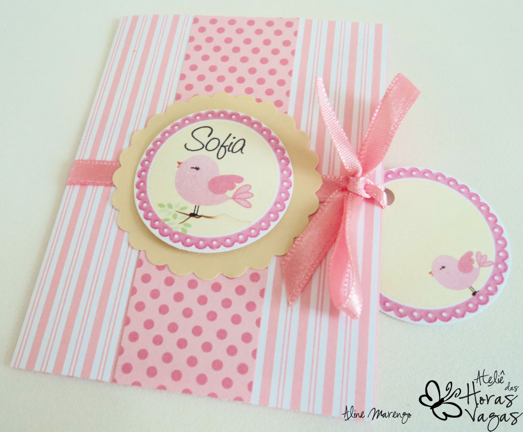 convite artesanal passarinhos rosa e creme bege marfim aniversário 1 aninho