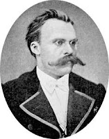 Portrait of German philosopher with glasses and moustache