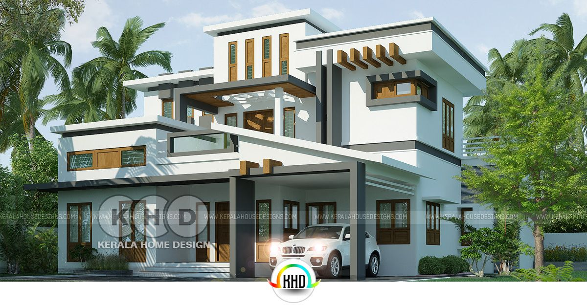 4 Bedroom Box Model Contemporary House Design Kerala Home
