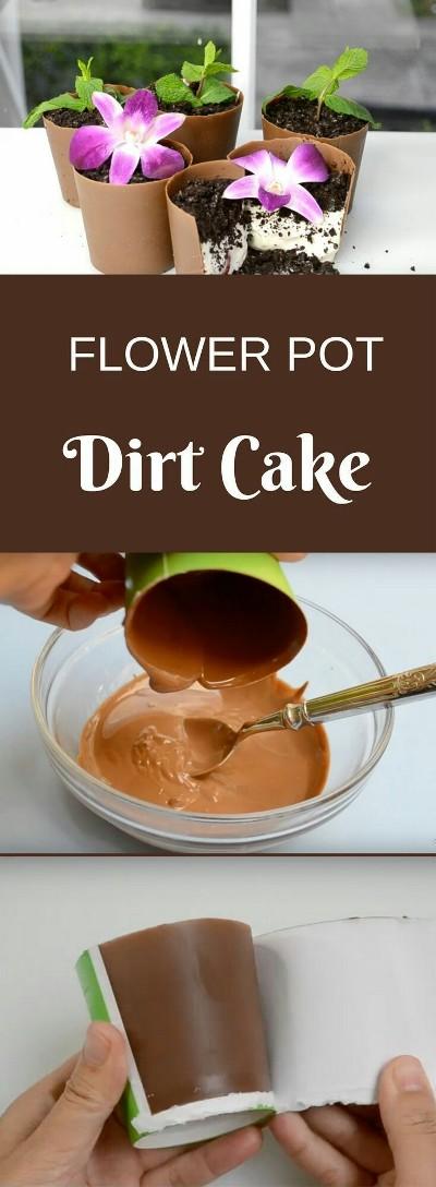 Penampilan flower pot dirt cake ini bisa menipu semua orang. Yang menjadi dirt (tanah) dari flower pot dirt cake ini sebenarnya adalah kue keju (cheesecake). Mudah dibuat dan hasilnya menyenangkan.