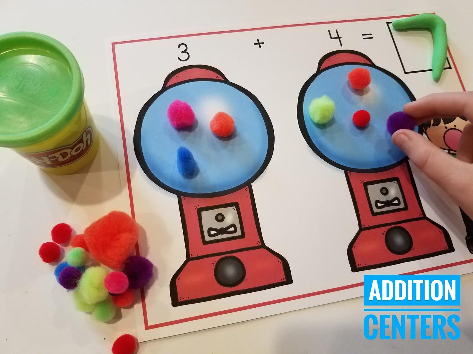 10 Addition Math Centers for Kindergarten | Mrs. McGinnis ...