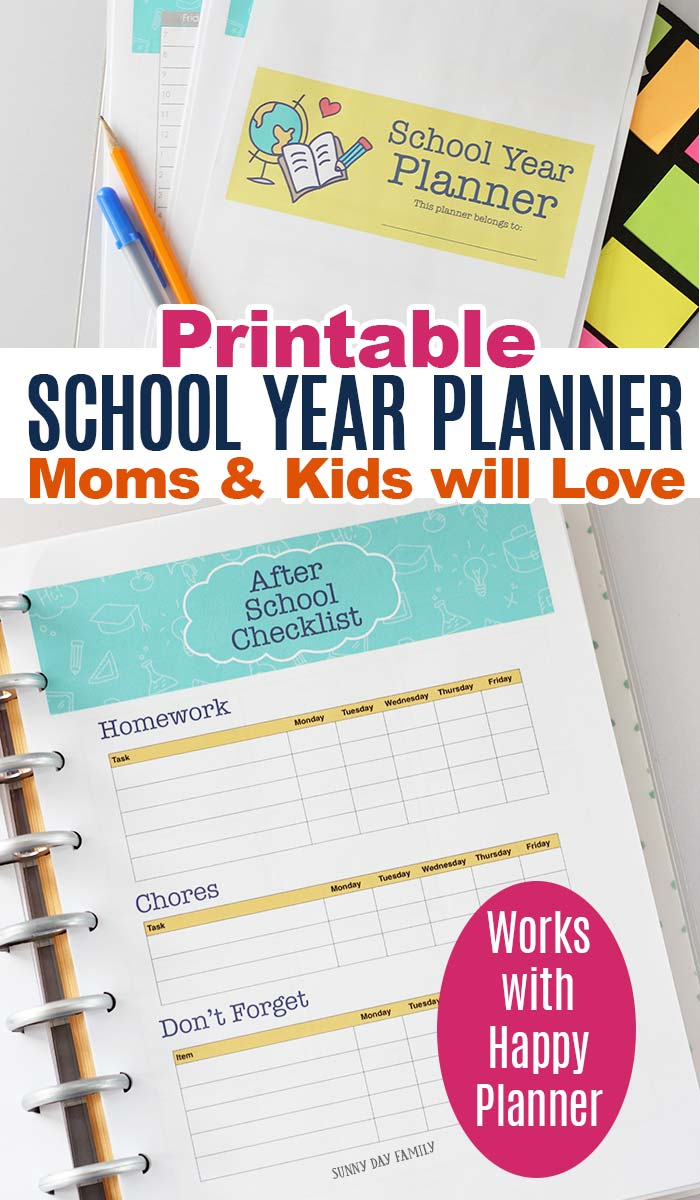 Get organized for back to school with a printable planner that moms and students can use! Works with any planner including Happy Planner. Includes school information, lunch ideas, before and after school checklists and more. The perfect back to school planner. #backtoschool #planners #parenting #organizing