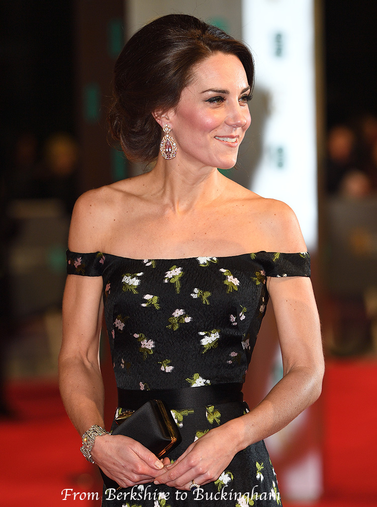 Princess Kate Sparkles At The Baftas In Customized Mcqueen