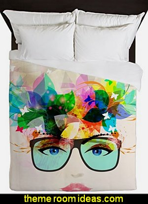 Glossy Trendy Face Queen Duvet  Hipster decorating style - hipster decor - Hipster wall art - Hipster room decor - Hipster bedding - urban decor - retro decor - vintage cool decor - Strampunk - hipster bedroom ideas - Hipster home decor -   Hipster gifts - Marquee signs - hipster style quirky fun decor - hipster bedroom decorating ideas