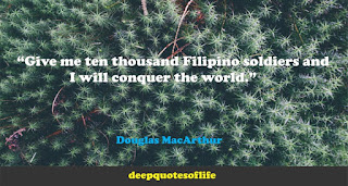"""""""Give me ten thousand Filipino soldiers and I will conquer the world.""""  ― Douglas MacArthur"""