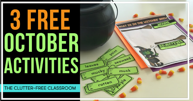 Free printable Halloween activities for kids. Teachers will love the math, writing, and reading printables included in these print and go resources.