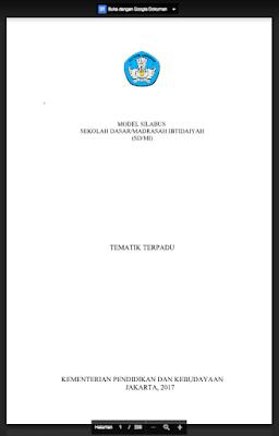 Silabus Kurikulum 2013 Revisi 2017 Kelas 1 SD/MI