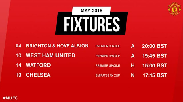 Jadwal Manchester United Mei 2018