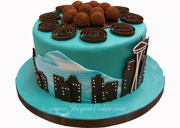 Seattle Skyline Birthday Cake