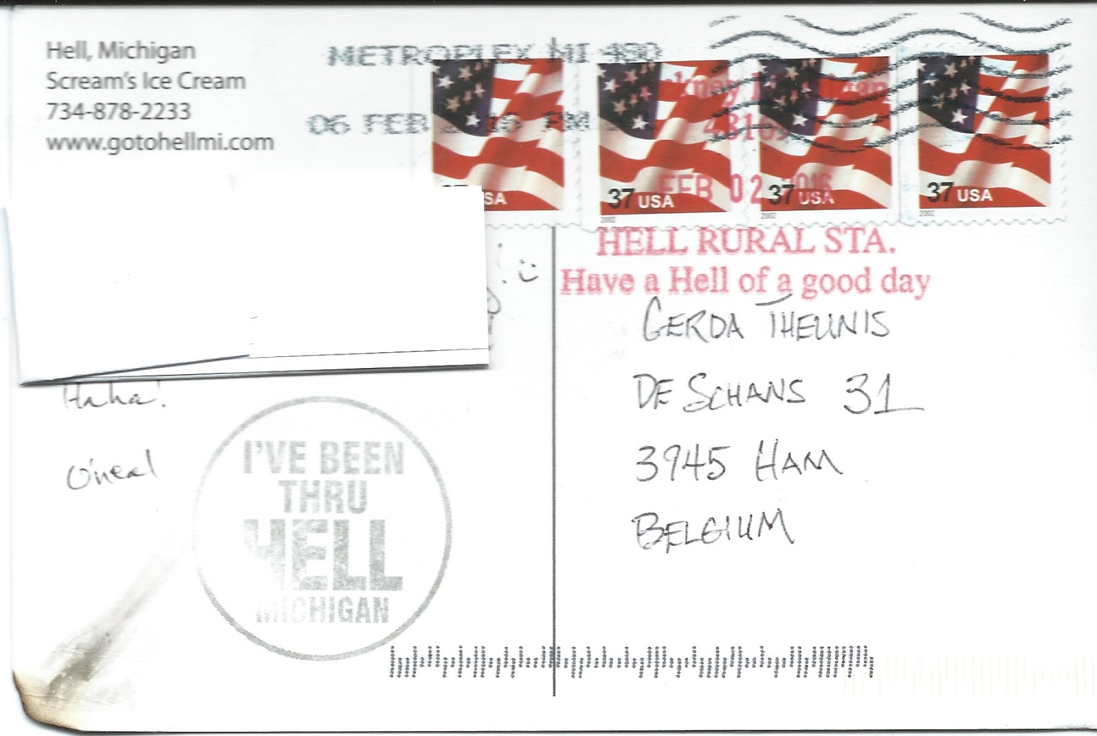 My Postcard Page Usa Greetings From Hell Michigan
