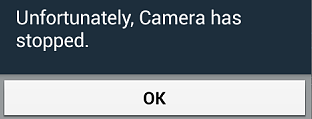 Camera has stopped working error message screenshot