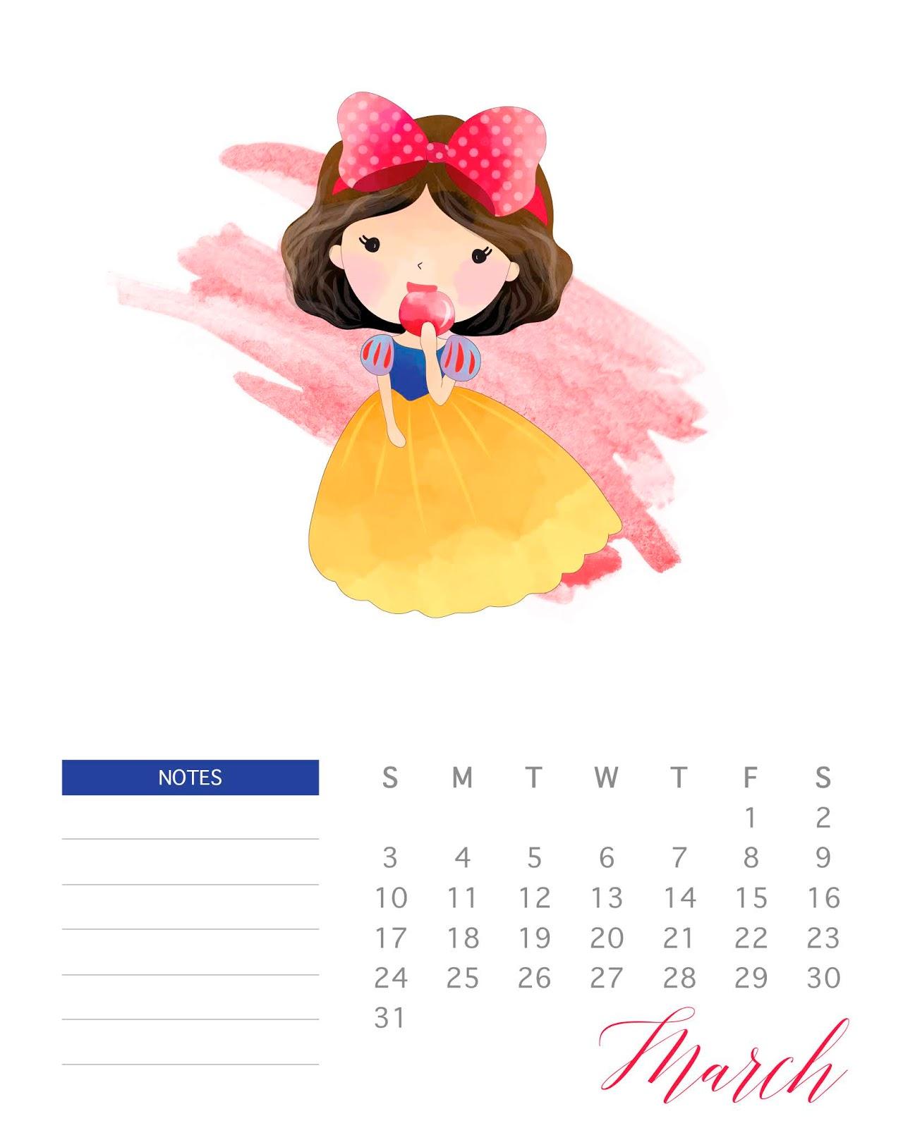 Calendario 2019 Disney Para Imprimir.Princesas Disney Calendario 2019 Para Imprimir Gratis