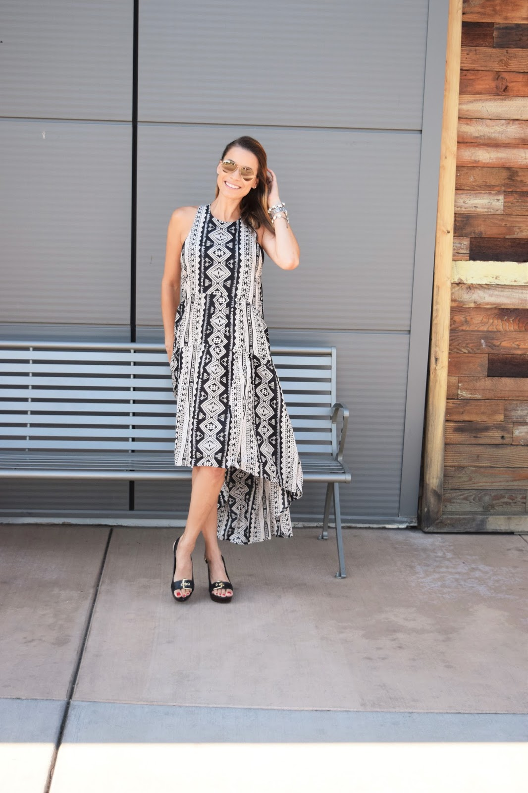 High Low Tribal Print Dress