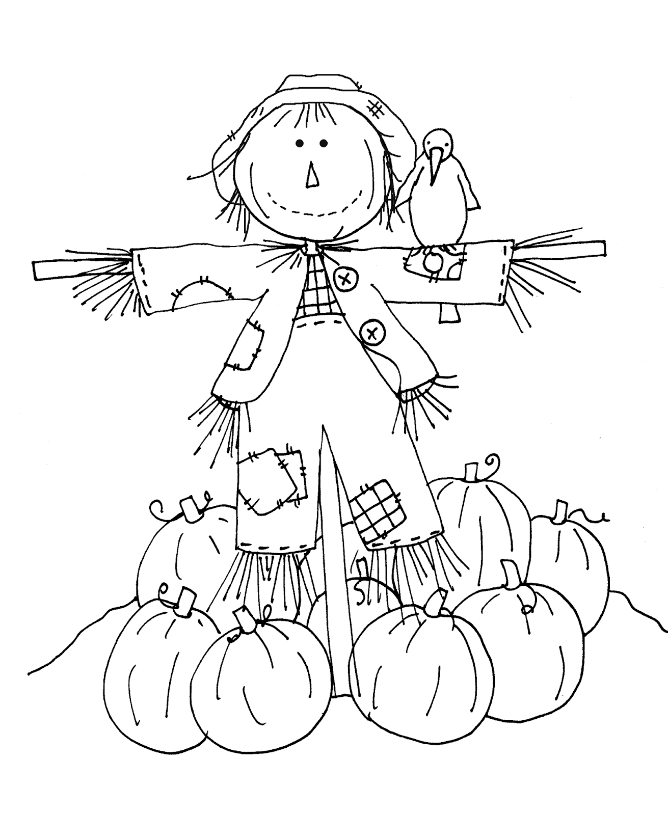 Printable Scarecrow Patterns Cut Out Sketch Coloring Page
