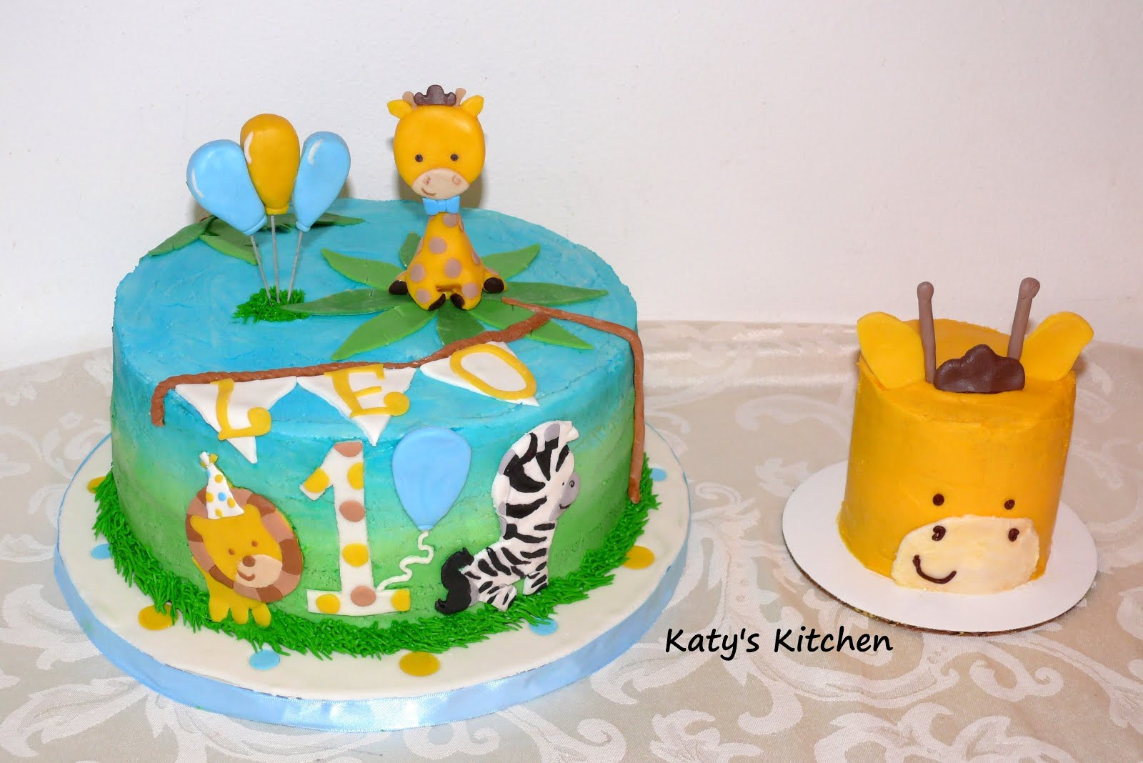 Katys Kitchen 1st Birthday Safari Cake And Smash Cake