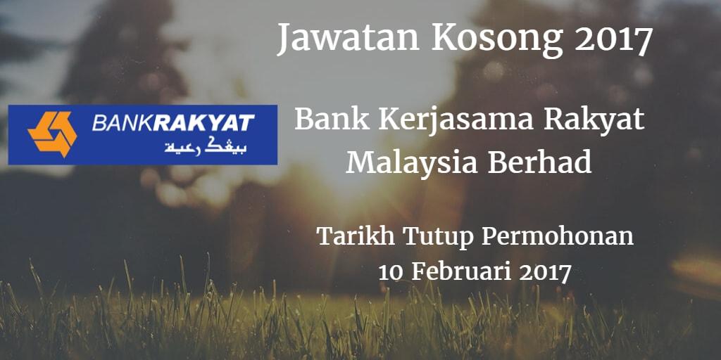 Jawatan Kosong Bank Kerjasama Rakyat Malaysia Berhad 10 Februari 2017