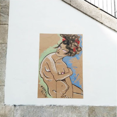 Berriblue Street Art Paste Up Painting Woman
