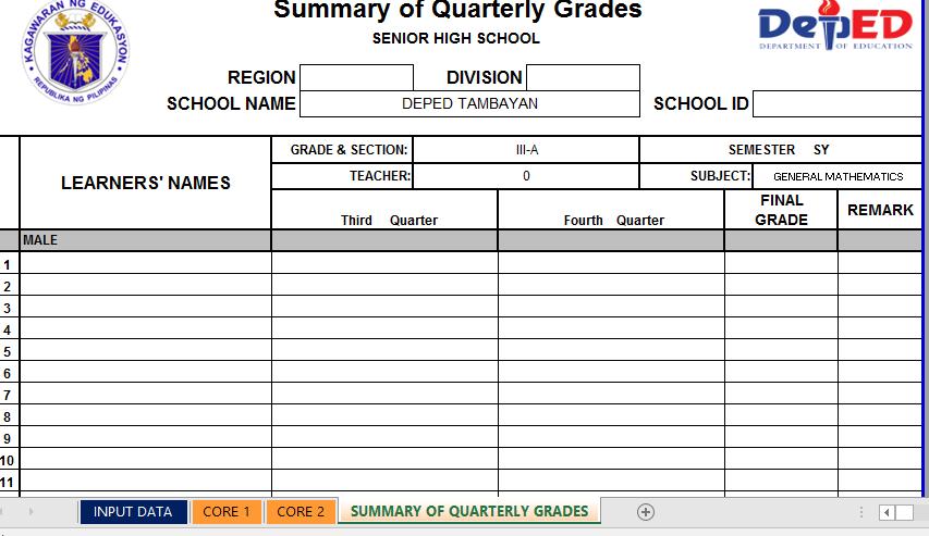 NEW! Modified E-Class Record for Grades xi & 12 (Latest