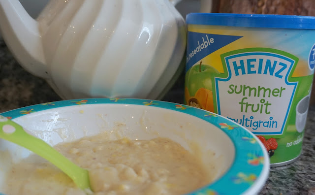 bowl of heinz summer fruit multigrain baby cereal and tub