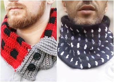 2 Cuellos-Bufanda para hombres punto Escocés y Bloques
