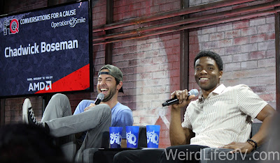 Zachary Levi laughing hysterically and Chadwick Boseman
