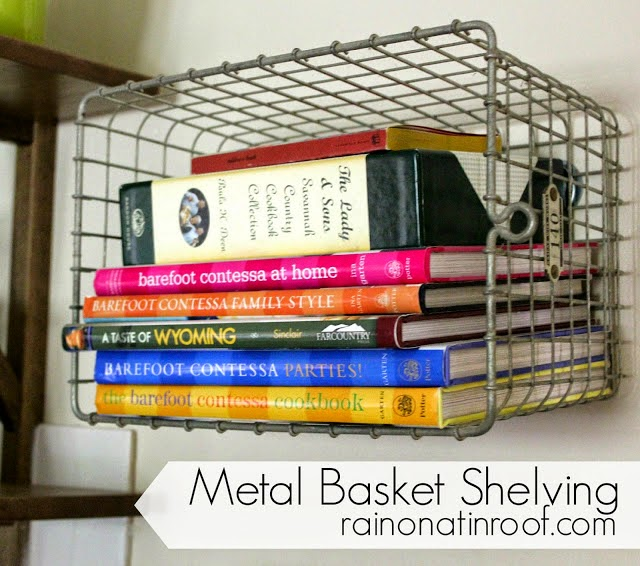 Use baskets for organizing cookbooks in the kitchen:: OrganizingMadeFun.com