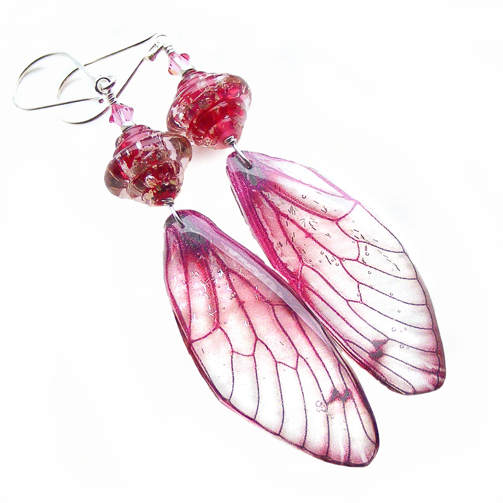 Enchanting Pink Dragonfly Wing Earrings by Erika Price