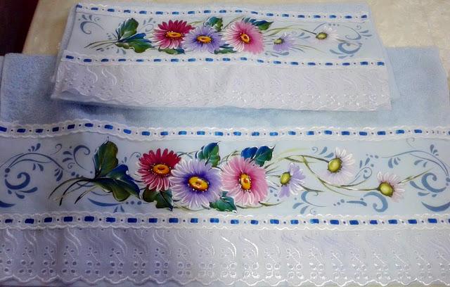jogo de toalhas de banho pintado
