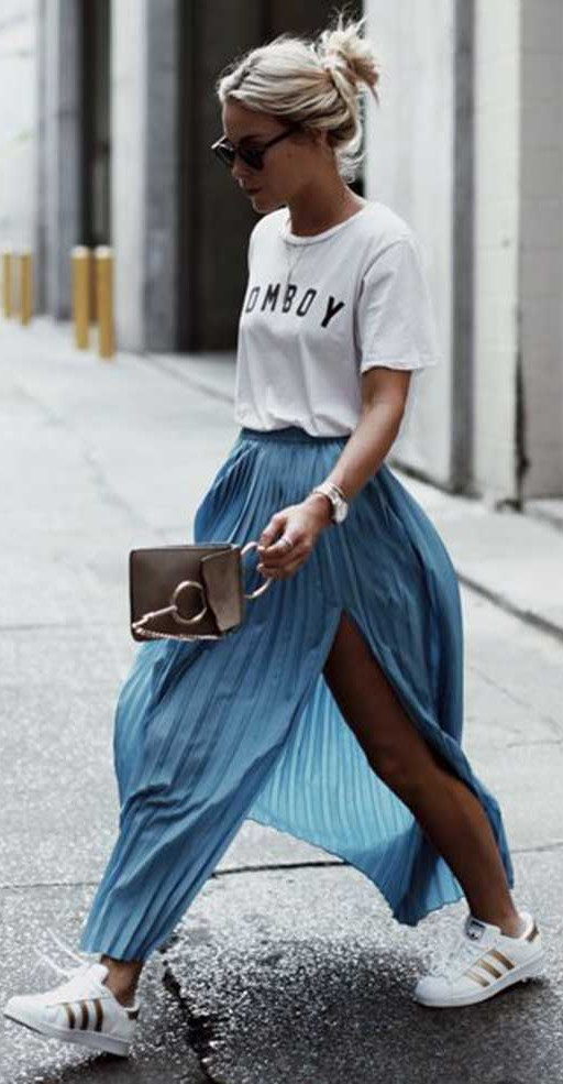 sporty chic outfit: street style with maxi skirt and white sneakers