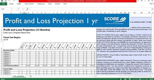 12-month profit and loss projection excel template - ENGINEERING