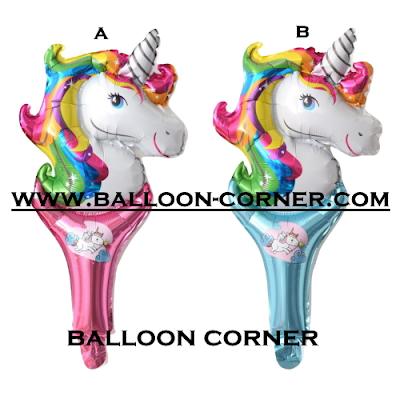 Balon Foil Raket Karakter Kepala Unicorn Rainbow
