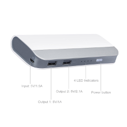 10400mAh High Capacity Dual USB Portable Charger External Battery Power Bank For iPhone 6 Plus 5S iPad Mini Samsung Galaxy S6 edge S5 S4 S3 Note 4 3 HTC M9 Sony Most 5V Smart phones and Tablet